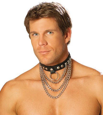 Men's Leather Collar With Chains w/ O-Ring