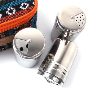 1pcs Outdoor camping Cooking Seasoning tank stainless steel mouth rotating barbecue bottle salt spice sprayer jar pepper shakers
