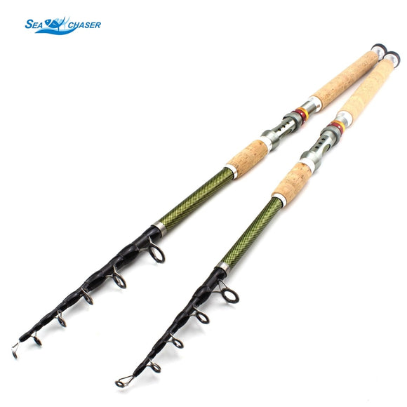 NEW 2.1m 2.4m 2.7m 3.0m 3.6m Telescopic Fishing Rod carbon wooden handle Spinning Rod Extra heavy carp fishing pole sea Tackle