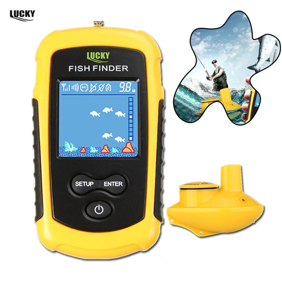 Lucky Wireless FishFinder Sonar Winter Fishing 120M Operate Fish Icon Display w/ Sonar Echo Sounder Alarm RL49-0065 Fish Finder