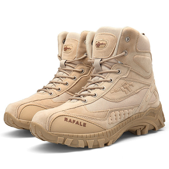 TaoBo EU 39-46 DELTA Men Tactical Training Leather Boots Outdoor Sports High-top Hiking Shoes Travel Military Assault Shoes