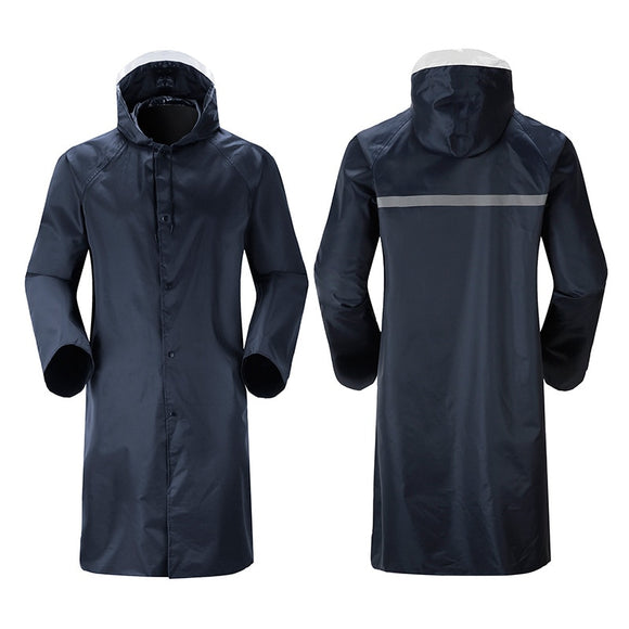 High Quality Men Rain Coat Reflective Strip Zipper Long Raincoat Waterproof Rainwear At Outdoor Rain Tools YY064
