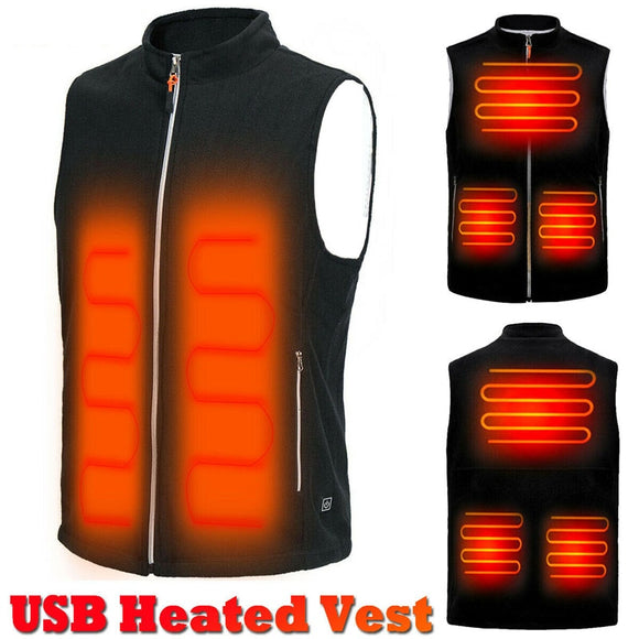 Men Autumn Winter Warm Electric Thermal Cloth Waistcoat Fish Hiking Outdoor USB Infrared Heating Vest Jacket