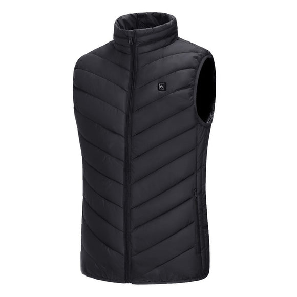 Outdoor Men Electric Heated Vest USB Heating Vest Winter Thermal Cloth Feather Camping Hiking Warm Hunting Jacket Clothing