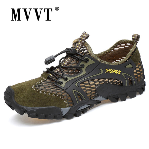 Summer Breathable Men Hiking Shoes Suede + Mesh Outdoor Men Sneakers Climbing Shoes Men Sport Shoes Quick-dry Water Shoes