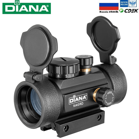 DIANA 1X40 Red Green Dot Sight Scope Tactical Optics Riflescope Fit 11/20mm Rail Rifle Scopes Hunting