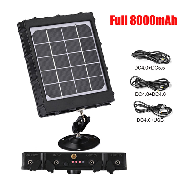 WG8000 Hunting Trail Cameras Solar Panel Charger 6v/9v/12v 8000mAh for feeder kit forest Game Cameras 1.7mm/DC2.1mm/USB adapter