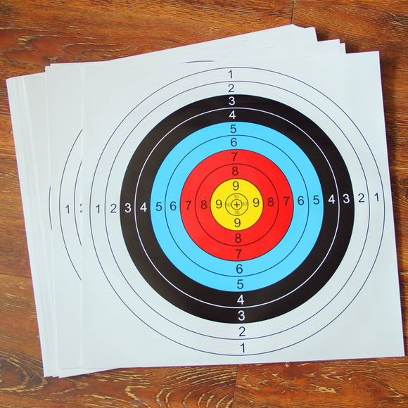 New 30pcs 40*40 cm Archery Shooting Target Paper Bow Hunting Archery Kit Standard Full Ring Single Spot Shooting Training Paper