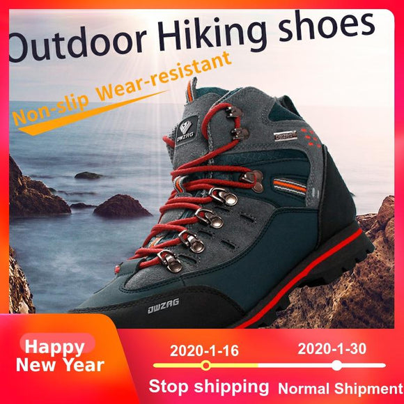 Waterproof Hiking Shoes For Men with leather tops and anti-slip soles