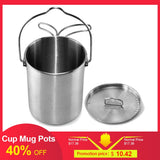 700ml Outdoor Stainless Steel Cup Mug Pots Tableware Camping Cup Picnic Water Cup Mug of Coffee Tea with Lid and Foldable Handle