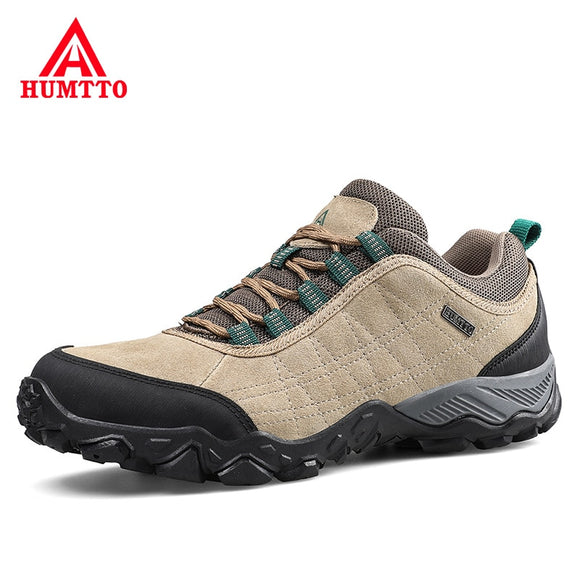 Humtto New Arrival Leather Hiking Shoes Wear-resistant  Outdoor Sport Men Shoes Lace-Up Mens Climbing Trekking Hunting Sneakers