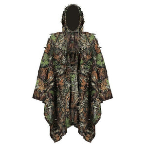 Camouflage Leaf Hunting Poncho Jungle Woodland Birdwatching Breathable Hunting Ghillie Suit For Hunter Camping Hunting Clothing