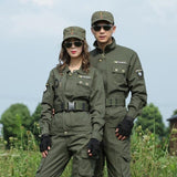 US Army Green Hunting Uniform Cotton Combat Shirt Cargo Pants Women Tactical Clothing Wear-resistant Fabric Hunter Clothes Men
