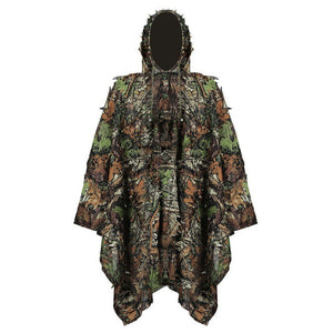 Military Camouflage Leaf Hunting Poncho Jungle Woodland Breathable Ghillie Suit for PUBG Player Hunter Camping Hunting Clothing