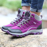 DUDELI Winter High Top Women Hiking Waterproof Trekking Boots Mountain Climbing Shoes Sports Rubber Sole Shoes Nubuck Men Couple