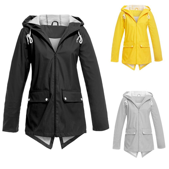 2019 Modis Windbreaker Jacket Women Casual Solid Jacket Outdoor Plus Size Hooded Windproof Loose Coat Outdoor Hiking Coat Cloth