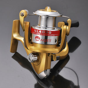 2019 Real Carretilha De Pesca Esquerda Spinning Reel Molinete Golden Nl1000-6000 Line Roller Fishing Pole Sea Rolle Plastic Cup