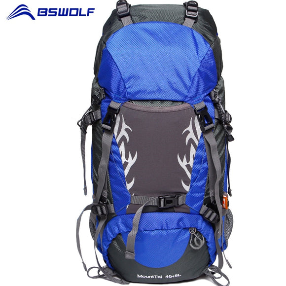 BSWolf Outdoor Camping Backpack 50L/60L Large Capacity Travel Backpack Mountaineering Bag Waterproof Climbing Hiking Backpack
