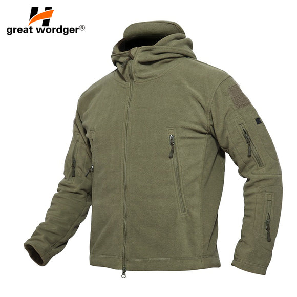 Outdoor Winter Thicken Soft Shell Military Fleece Jackets Men Hooded Windproof Tactical Outerwear Coat Warm Hiking Jacket Clothe