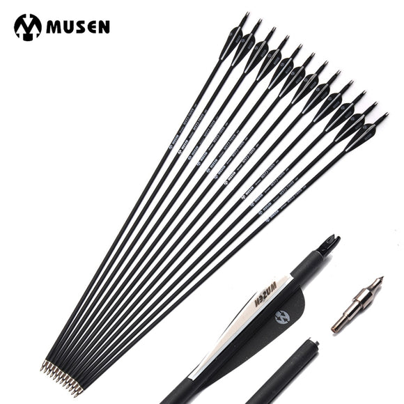 6/12/24pcs/lot 32 inches Spine 500 Carbon Arrow with Black and White Color for Recurve/Compound Bows Archery Hunting K