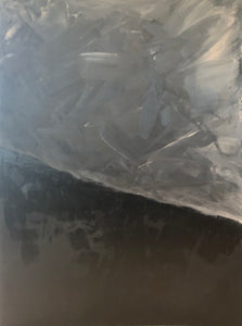A matt and gloss black slope dominates the bottom third of this canvas. Swirls of greys and apricot fill the top with a storm of movement