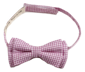 Sutton Kids Pink Gingham Bowtie 0-6M, 6-10Y