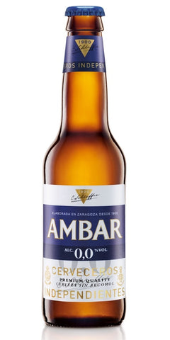 A bottle of Ambar 0.0, a gluten-free and alcohol-free beer from Spain