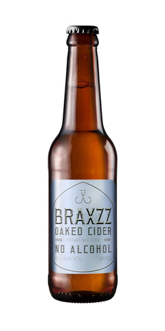 A bottle of Braxzz non-alcoholic Oaked Cider. Fresh and fermented apples are combined with hops and an oak wood finish to produce a rich complex profile