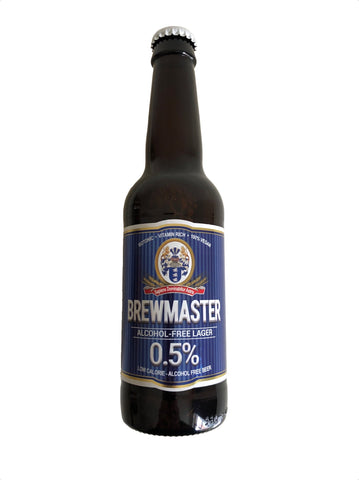 A bottle of Brewmaster alcohol-free lager, a well balanced non-alcoholic lager with only 11 calories. It is also an isotonic beer containing B vitamins and folic acid.