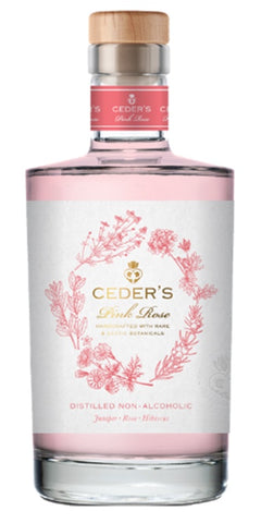 Bottle of Ceder's Pink Rose, a non-alcoholic alternative to gin featuring juniper, rose and hibiscus
