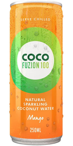 A can of Coco Fuzio 100 Mango, a sparkling coconut water from tender, young, green coconuts, fused with real fruit flavouring
