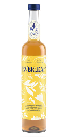 A bottle of Everleaf, the alcohol-free aperitif. A complex blend of ingredients such as Madagascan vanilla, Spanish saffron, gentian, iris, vetiver and orange blosso