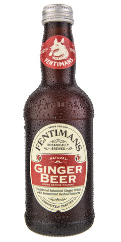 A bottle of Fentimans Ginger Beer, fermented from the finest Chinese ginger root for a drink that is fiery and full of flavour.