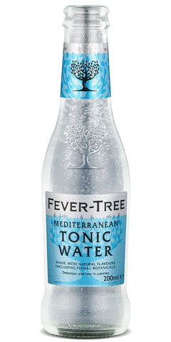 A bottle of Fever-Tree Mediterranean Tonic Water, a blend of essential oils from flowers, fruits and herbs from around the Mediterranean with quinine from the 'fever trees' of the Democratic Republic of the Congo