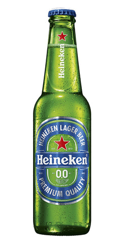 A bottle of Heineken 0.0, a zero alcohol lager with fruity flavour and slight malty notes.