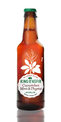 A bottle of King of Kefir Cucumber, Mint & Thyme, a gentle refreshing drink with a delicate cucumber flavour, a light spearmint aftertaste and a hint of thyme and only 7 kcal per bottle