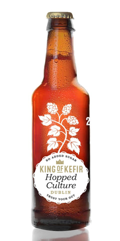 A bottle of King of Kefir Hopped Culture, using three aromatic hop varieties (Amarillo, Citra, Mosaic)