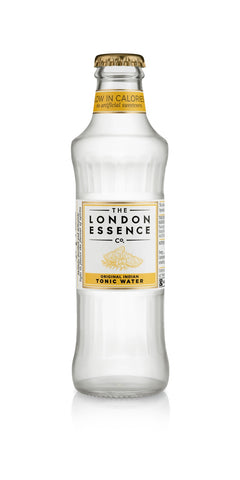 A bottle of London Essence Original Indian Tonic