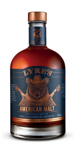 A bottle of Lyre's non-alcoholic American Malt, the essence of a gently mellowed American Classic Bourbon Malt with flavours that are distinct and contemporary
