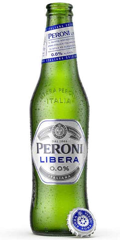 A bottle of Peroni Libera 0.0%, an alcohol-free beer alternative that has a rich and intense flavour of fresh citrusy hops
