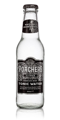 A bottle of Poacher's Citrus Tonic Water, using distilled Irish rosemary and Florida oranges combined with a base of natural quinine from the Congo