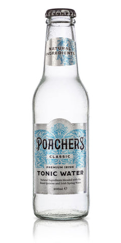 A bottle of Poacher's Classic Tonic Water, containing a light sprinkling of Irish thyme followed by a swift hit of quinine