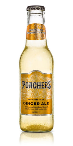 A bottle of Poacher's Ginger Ale, infused with African ginger extract and then given a tangy freshness with a secret citrus blend. This is balanced out by natural sugar and Highbank Orchard organic apples from Kilkenny
