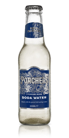 A bottle of Poacher's Soda Water, pure Irish spring water with a perfected light and fine carbonation