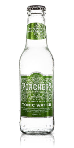 A bottle of Poacher's Wild Tonic Water, with wild elderflower from Macreddin Village, Wicklow, added for a floral touch