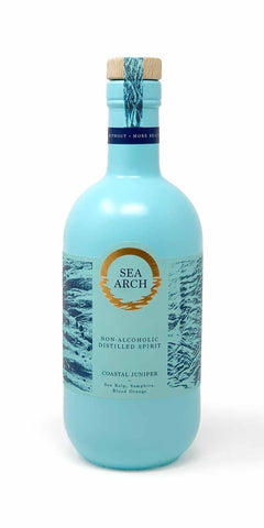 A bottle of Sea Arch, non-alcoholic distilled spirit featuring the wild seaside herbs of sugar kelp and samphire