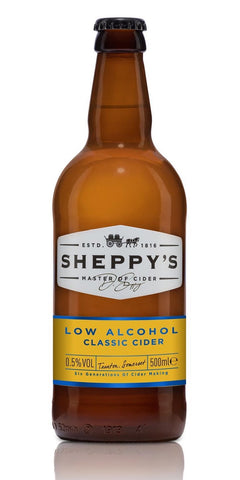 A bottle of Sheppy's Non-Alcoholic Classic Cider. Made with a blend of Somerset's finest traditional and dessert cider apples