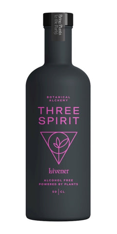 A bottle of Three Spirit Livener, an invigorating alcohol-free pick-me-up made from guayusa, guava leaf and schisandra with big flavours from vibrant berries, bright aromatics and heat