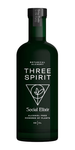 A bottle of Three Spirit Social Elixir, the ultimate nonalcoholic social companion and mood elevator made with lion's mane mushroom, yerba mate and damiana