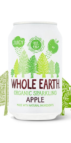 A can of Whole Earth Organic Sparkling Apple. A light, refreshing flavour of delicious, aromatic apples, with all natural ingredients, suitable for vegetarians & vegans